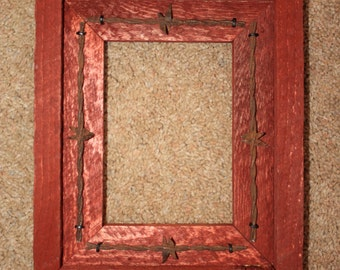 Picture Frame - 5 X 7 - Rustic Wood - Barbed Wire - Western - Recycled - Sedona Red
