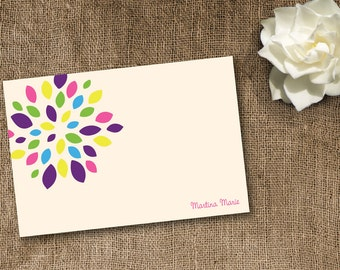 Printable Burst Multicolored Folded Notecard set