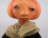 contemporary folk art doll cloth and paperclay pumpkin head doll ooak