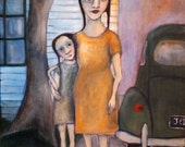 Mother and daughter child painting folk art portrait vintage family car
