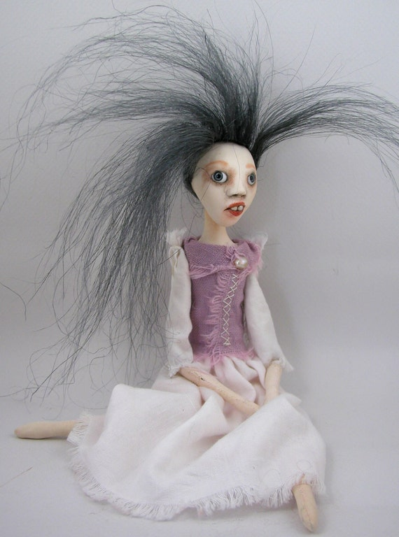 Reserved for Nancy contemporary folk art doll cloth clay jointed limbs hand sewn Fiona