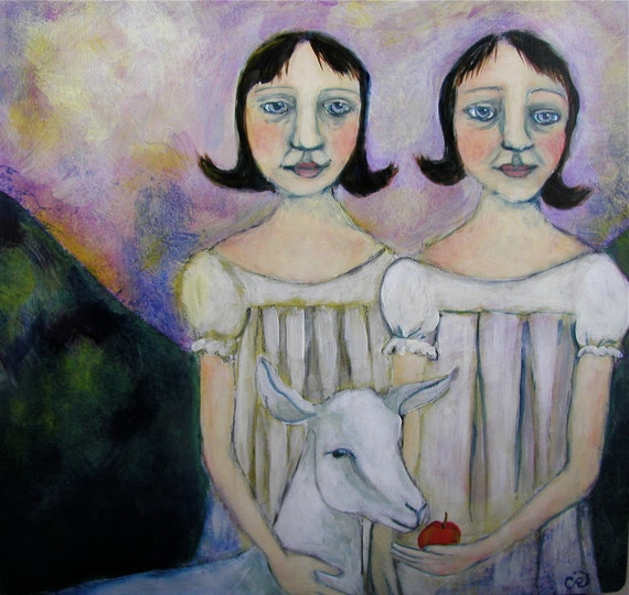 Sister twins and goat painting Folk Art Portrait original