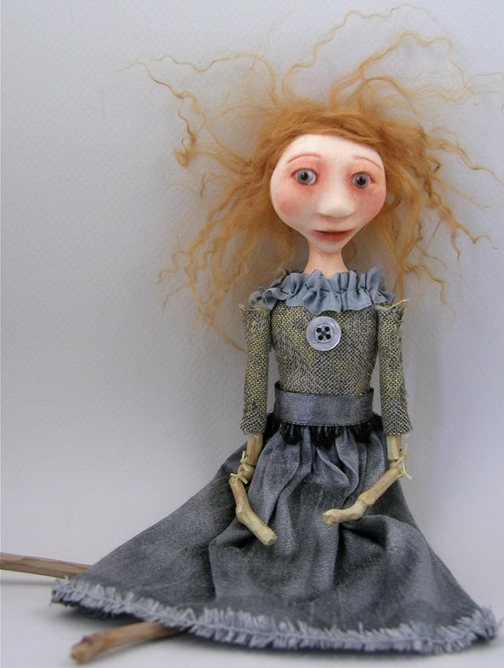 Folk Art doll sculpted cloth and clay strawberry blonde hair bead jointed limbs