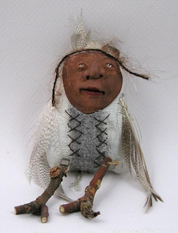 Folk Art Doll Ornament cloth clay hand stitching spring black bird easter chic