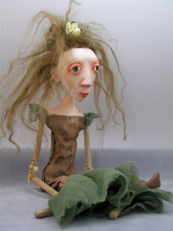 Reserved for Yvonne until 7/18 Contemporary Folk Art Doll Cloth Clay bead jointed wood limbs light brown hair ooak sculpted
