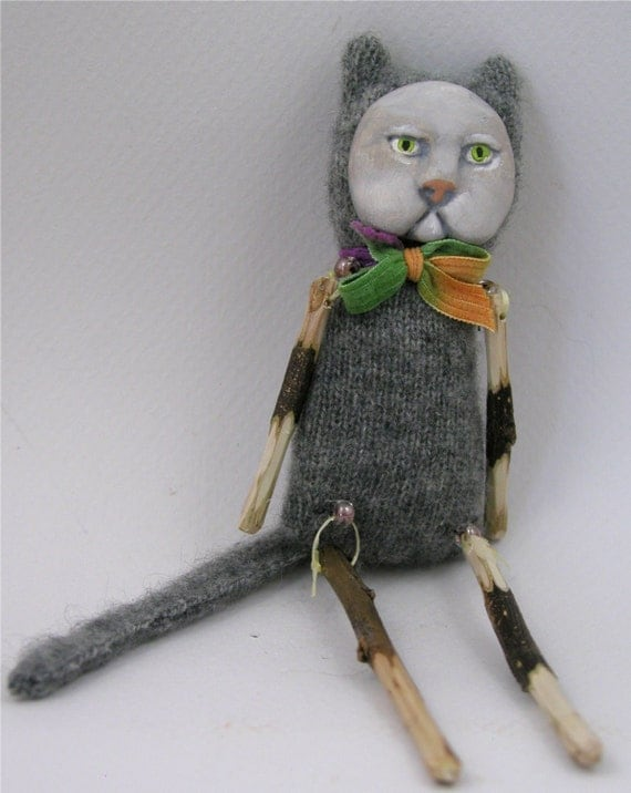 Reserved for Yvonne - Folk Art Doll ornament cat grey cashmere rainbow bowtie