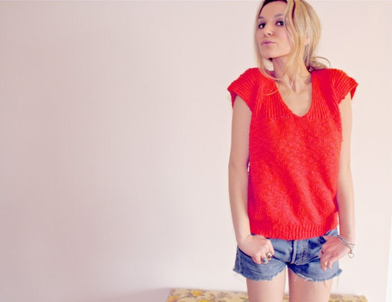 Vintage Red Knit Sweater