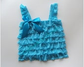 Turquoise ruffle fabric top infant  and toddler sizes available