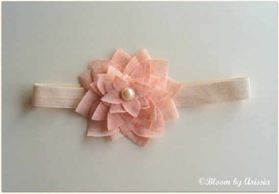 Simply chic collection . Pink cotton bloom headband