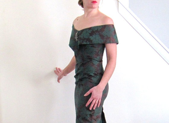 Vintage Forest Green Damask Brocade Formal Party Dress Gown xs small