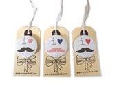 i heart moustache button badge