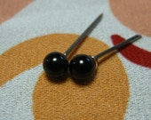 Hypoallergenic Black Onyx 4mm Gemstone Stud Earrings (Nickel Free Niobium Titanium / Surgical Steel Stud Earrings for Sensitive Ears)