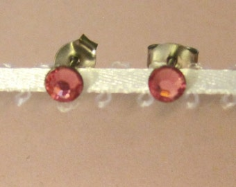 "Surgical Steel Post Earrings - ""Pink Crystals"" (Hypoallergenic Earrings for Sensitive Ears // Surgical Steel Stud Earrings)"