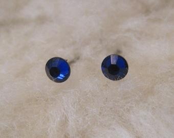 """Tiny Niobium Post Earrings - """"Cobalt Blue Crystals 2mm"""" (Hypoallergenic Earrings for Sensitive Ears // Nickel Free Stud Earrings)"""