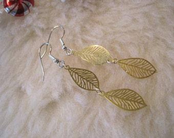 Surgical Steel Earrings - Golden Falling Leaves (Hypoallergenic Earrings for Sensitive Ears) by Pretty Sensitive Ears