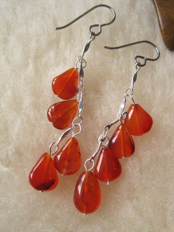 Niobium Earrings - Tangerine Rain - Hypoallergenic Earrings for Sensitive Ears // Nickel Free Earrings