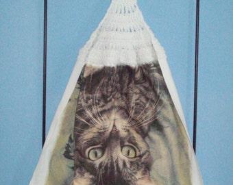 Upside Down Cat crocheted kitchen dish towel