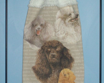 Poodle crocheted kitchen dish towel