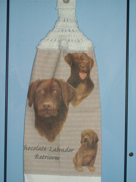 Chocolate Lab crocheted  kitchen dish towel