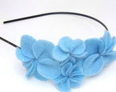 Headband with Light Blue Felt Flowers