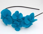 Headband with turquoise felt flowers