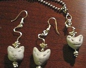 3 cute cats Sparkle, Farkle and Mew, earrings and pendant  New SALE