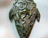 Dragon Amulet Necklace Green and Golden silver colors Handmade Clay