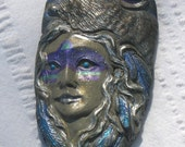 Coyote Wolf  Woman Native American Pendant Woodlands Blue and silver