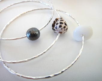Set of 3 Bangles on Sterling Silver with Tahitian Pearl 14 Gauge 12