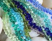 4x6 Glass Teardrop Bead Czech Glass Bead  Sampler Assortment  Jewelry Making (10 colors 10 beads each) (100 beads)