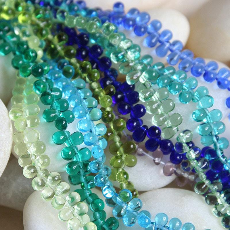 Teardrop Beads: 4x6 Glass Teardrop Bead Czech Glass Bead Sampler Assortment