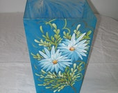 Vintage Mid-Century Waste Basket Garbage Can Blue Handpainted Shabby Chic