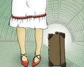 8x10 illustration print: Crossroads (girl wearing red shoes with suitcase in train station)