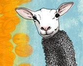 11x14 illustration print: Springtime (lamb wearing sweater with yellow tulips)