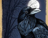 11x14 illustration print: Crow Season (black crow / raven with full moon & tree at night)