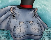 11x14 illustration print: All Dressed Up (hippo with top hat in water)
