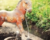 customized nursery art print, vintage horse toy, with your child's name
