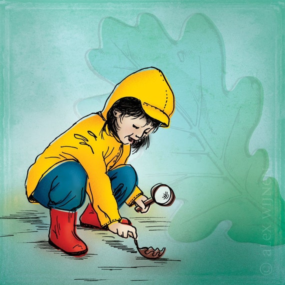 8x10 illustration print: Inspector Slicker (girl in yellow raincoat and red boots picking up oak leaf)