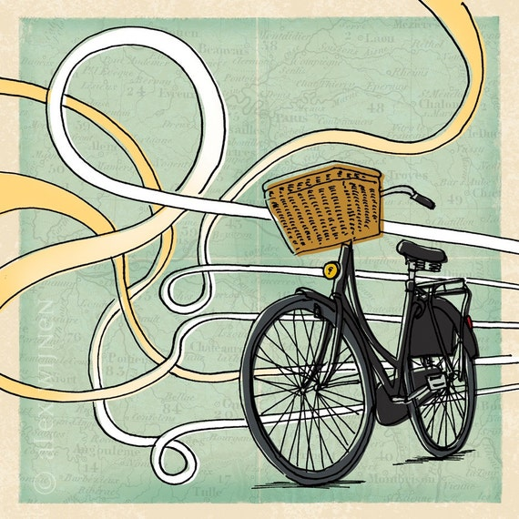 8x10 illustration print: Taking the Scenic Route (bike with basket & roads on French map background)
