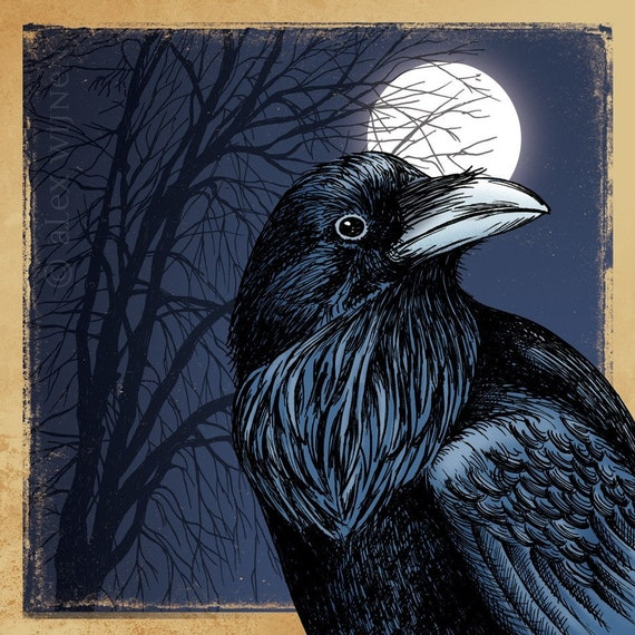 11x14 illustration print: Crow Season (black crow / raven with full moon & tree at night)