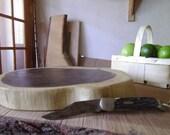 Live Edge NATURAL Log Cheese Cutting board wood Cake Platter Candle Pedestal 2