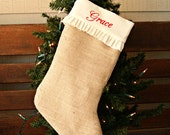Girl's Monogrammed Burlap Christmas Stocking