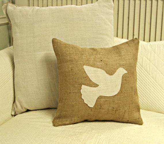 Burlap Dove Pillow