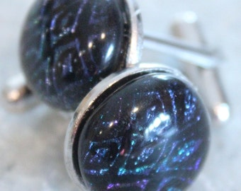 Dichroic Fused Glass Cuff Links