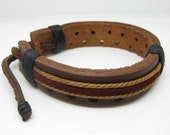 Men's brown and red leather hemp cords bracelet