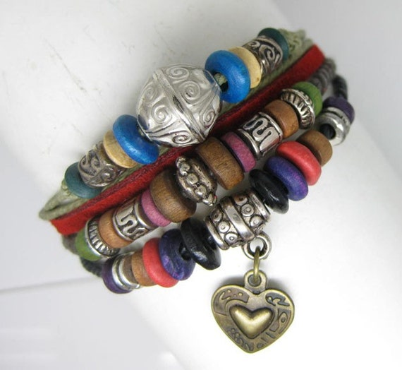 Multi cotton ropes small wooden beads with heart charm red leather bracelet