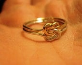 1 ring, 14kt gold, argentium sterling silver, bi metal ring, celtic love knot ring, any size up to 8