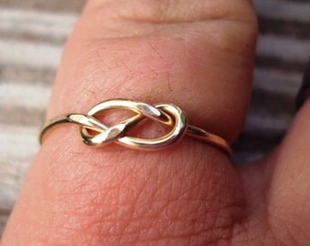Jewelry, 10kt solid gold infinity knot ring,eternity love knot, celtic, single knot ring, lovers knot ring, 18g