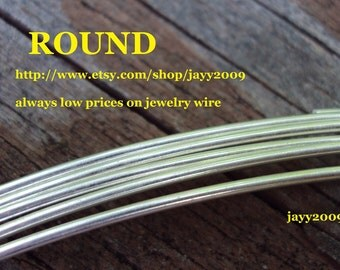 1 ft - 14G ROUND wire, half hard, ARGENTIUM sterling silver, other lengths available