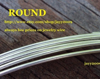 1 ft- 18G ROUND wire, half hard, full hard, or dead soft, ARGENTIUM sterling silver,